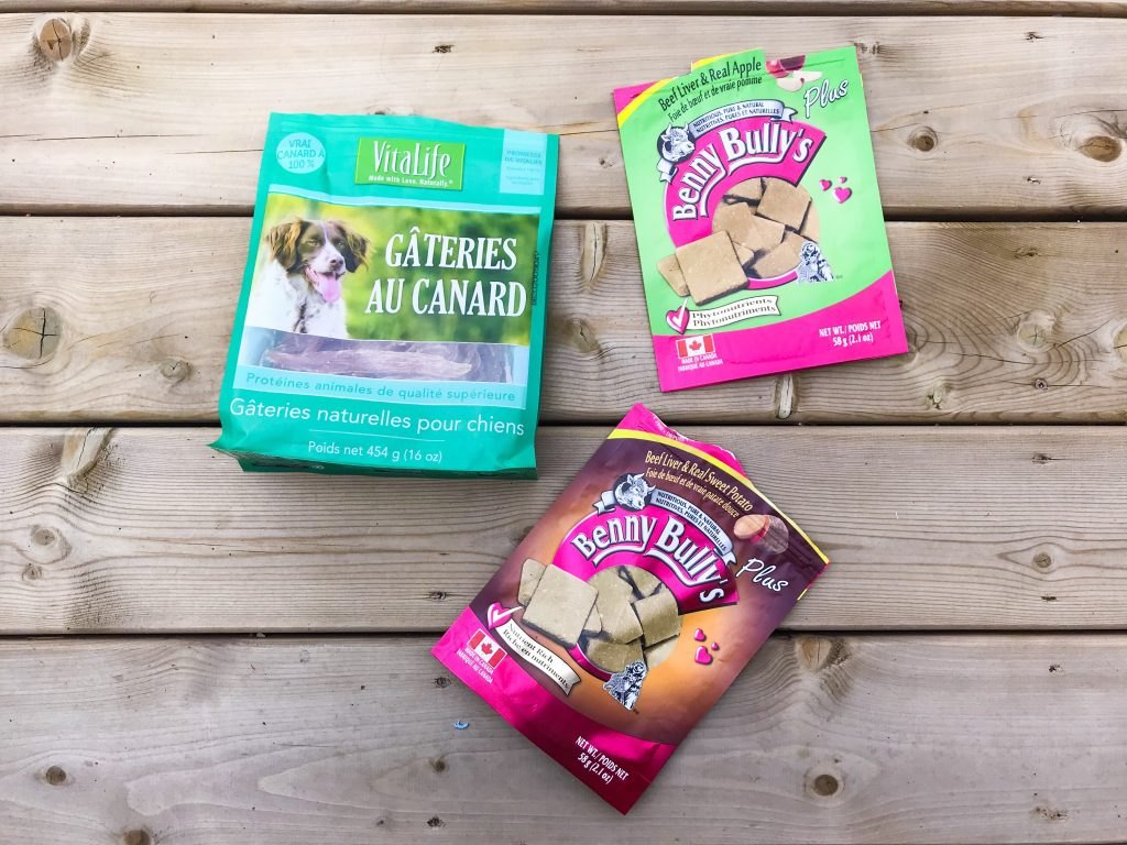 What's in Marlee's Dog Overnight Bag - VitaLife Duck Tenders and Benny Bully's Beef Liver Treats